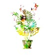 Colorful vector flower in pot