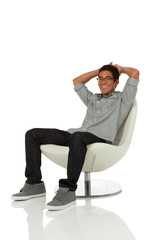 Man sitting in chair relaxing
