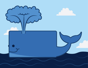 Cartoon whale on top of the ocean