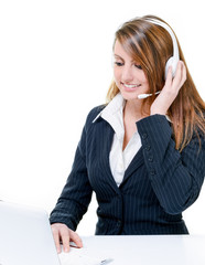 Smiling attractive woman talking in help desk