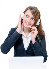 Smiling attractive woman in help line