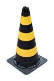 Black and yellow traffic cone