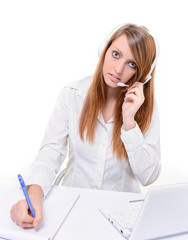 Smiling attractive woman in customer service