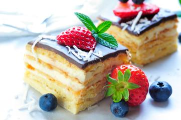 Berries Topping Cream Chocolate Cake