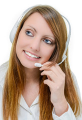 Smiling attractive operator woman with headphone