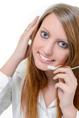 cute girl with headphone isolated