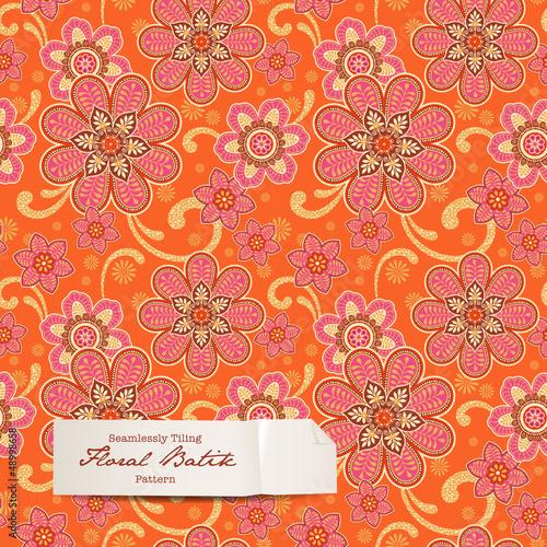 colorful floral batik pattern (seamlessly tiling)