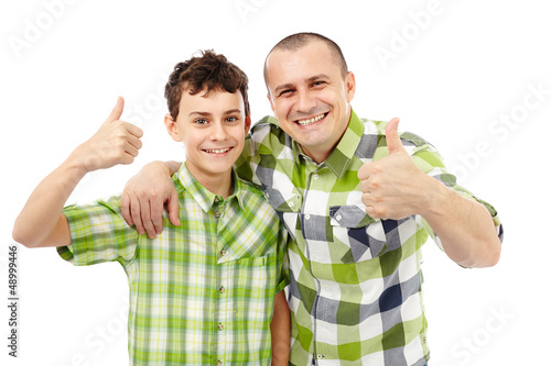 Father and son thumbs up