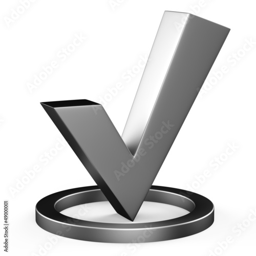 3d metal check mark
