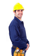 Smiling young worker isolated on white background