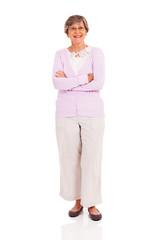 senior woman full length portrait on white background