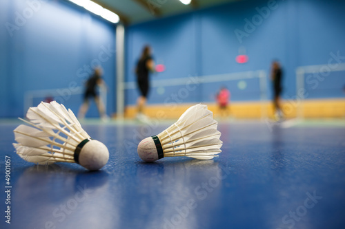 badminton - badminton courts with players competing; shuttlecock