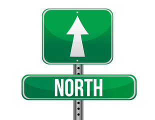 road sign to the north geographical direction
