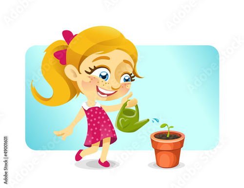 Girl watering a plant in a pot