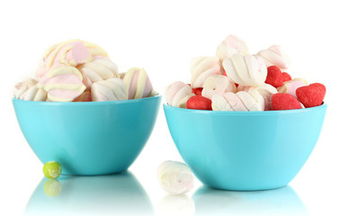 Gentle marshmallow in bowls isolated on white