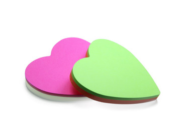 Heart-shaped sticky notes