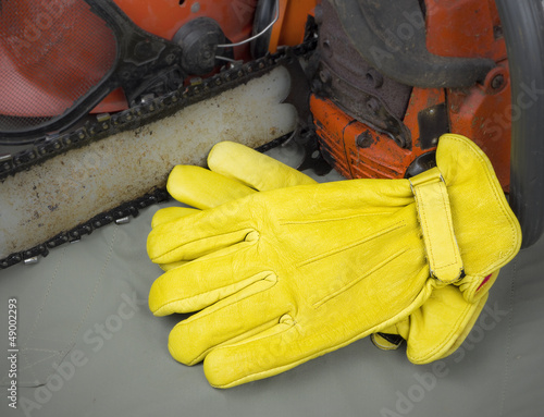 leather work gloves with tools