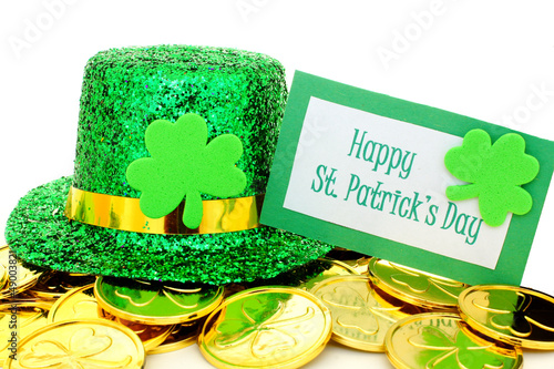 Happy St Patricks Day tag with party hat and gold coins