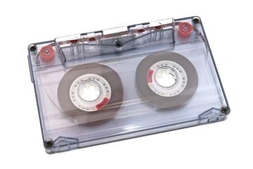 Vintage audio tape isolated on white background.