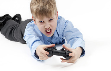 Boy playing a computer games