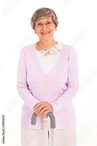 happy elderly lady with walking cane isolated on white