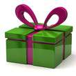 3d illustration of green gift with purple bow
