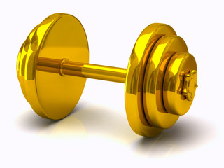 Gold dumbell isolated on white background