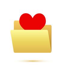 Red heart in folder icon