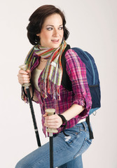 Female Hiker Wearing Scarf and Backpack