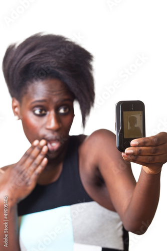 Woman Taking Self Portrait with Mobile Phone