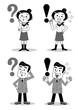 ?と! 疑問と理解の男性と女性 モノクロ