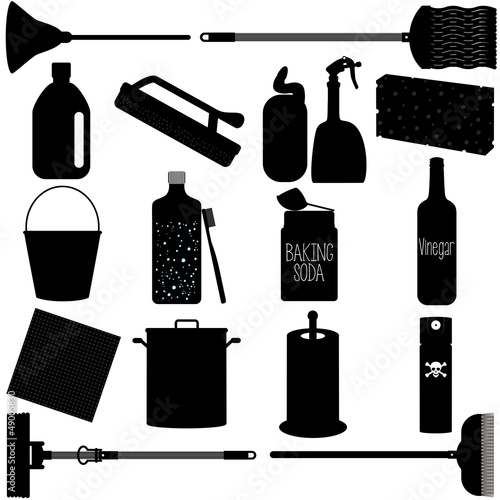 Vector Silhouette:  housework Tools for Washing, Cleaning