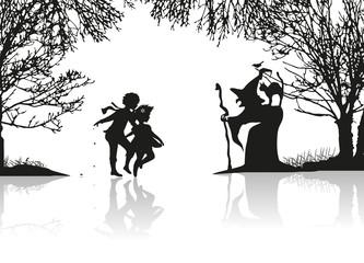 Hänsel und Gretel begegnen der Hexe
