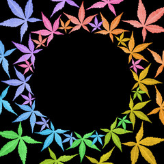 Circle frame of colorful leaves isolated on black.