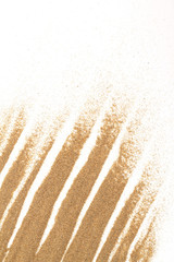 closeup of sand on a white for background use