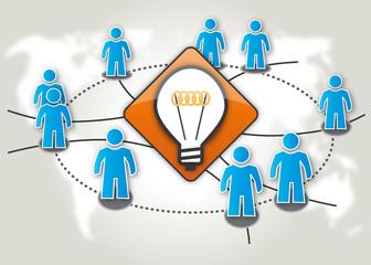 Crowdsourcing Think Tank Denkfabrik brainstorming Symbol_blau