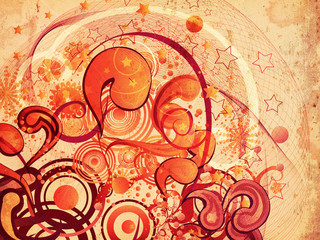 Grunge swirls and circles ornament