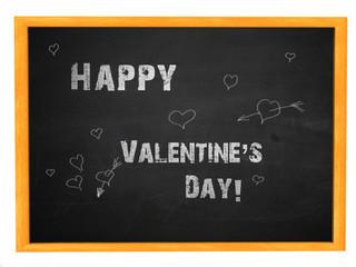 Happy valentine's day phrase on blackboard