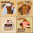 Set of vintage cards - invitations - with food and Hawaiian mask