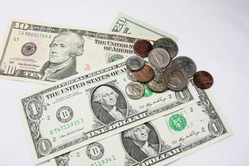 ドル紙幣とコイン