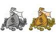 monety i worek pieniędzy kolorowa ilustracja finansowa