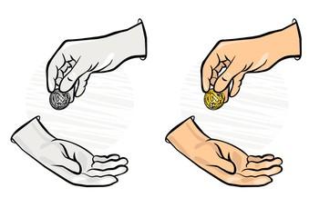 drobna moneta z ręki do ręki kolorowa ilustracja finansowa