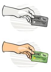 karta bankowa w dłoni kolorowa ilustracja finansowa