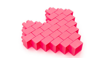 Heart made from toy bricks,with clipping path
