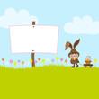 Bunny Pulling Handcart Easter Basket Label