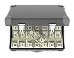 Suitcase of banknotes. 3d concept of profit.