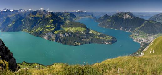 Lake in Switzerland Panoramic view from Fronalpstock