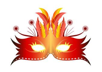 Masque plume Rio - Rouge - Carnaval