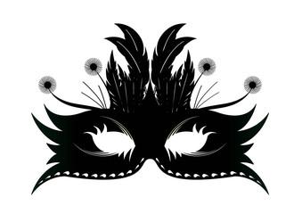 Sticker Masque plume Rio - Noir - Carnaval