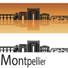 Montpellier skyline in orange background